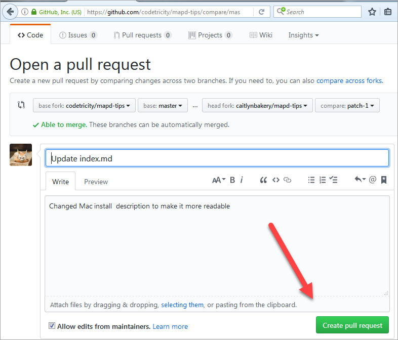 Create the pull request