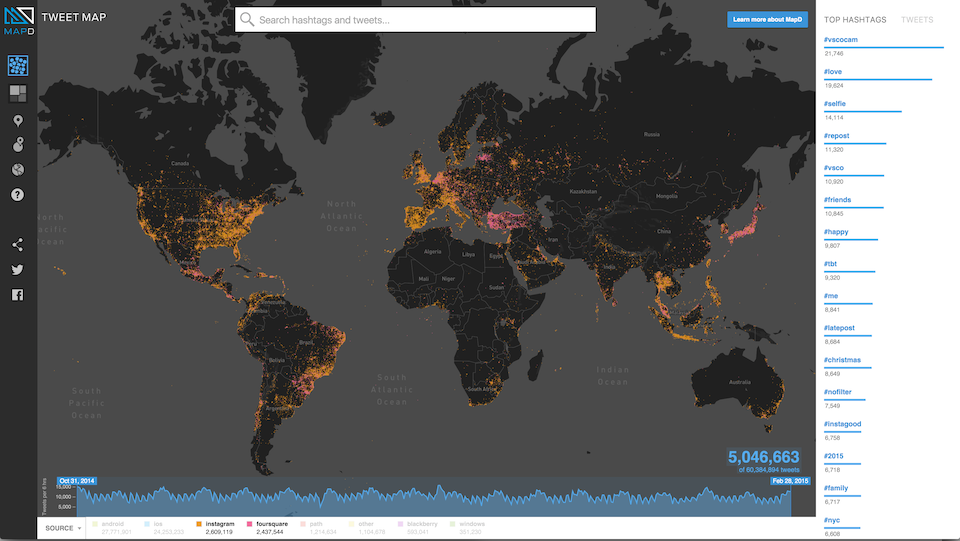 Tweets colored by OS - Foursquare vs Instagram