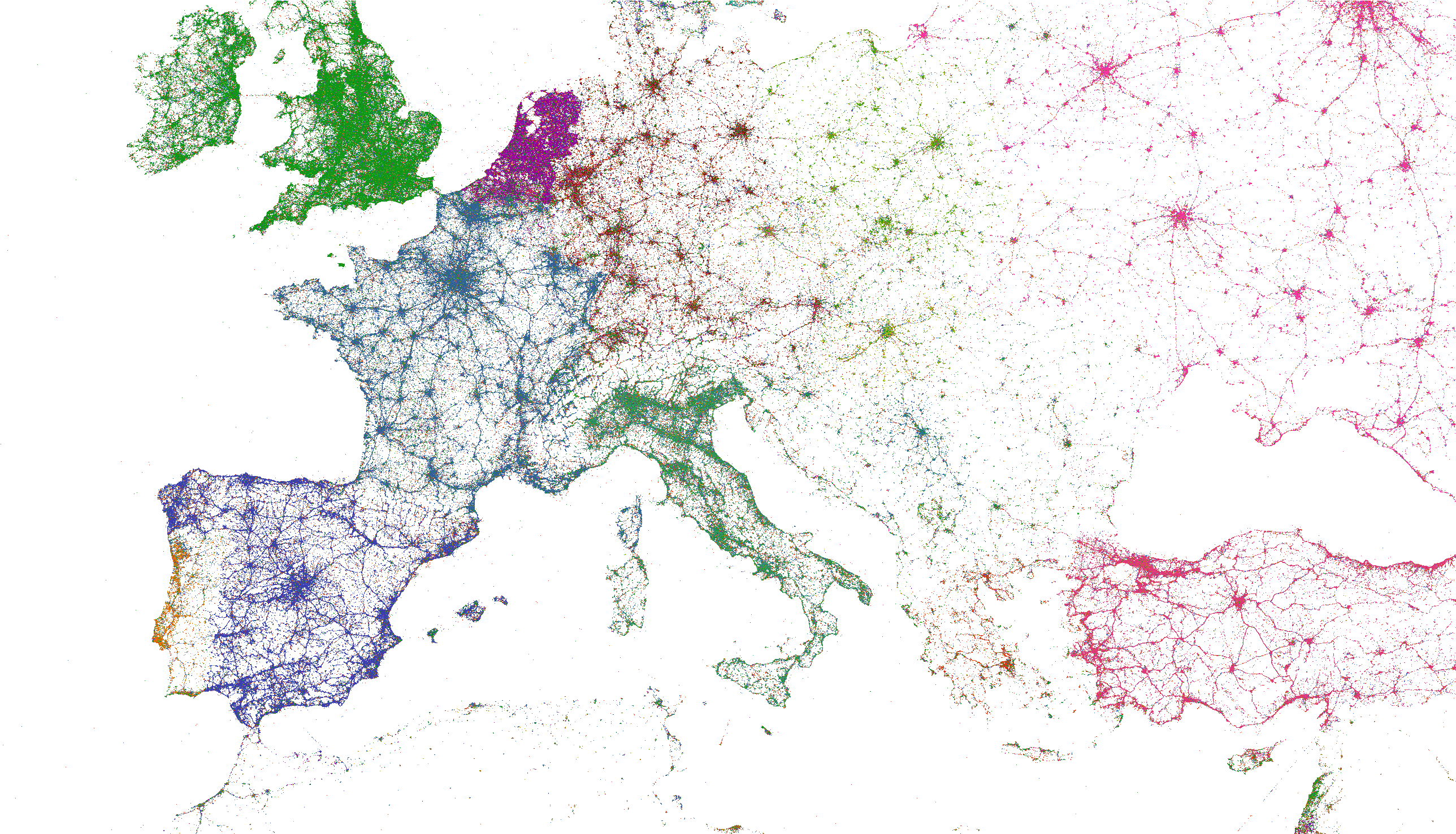 European tweets colored by language