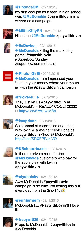 McDonald's #paywithlovin tweets
