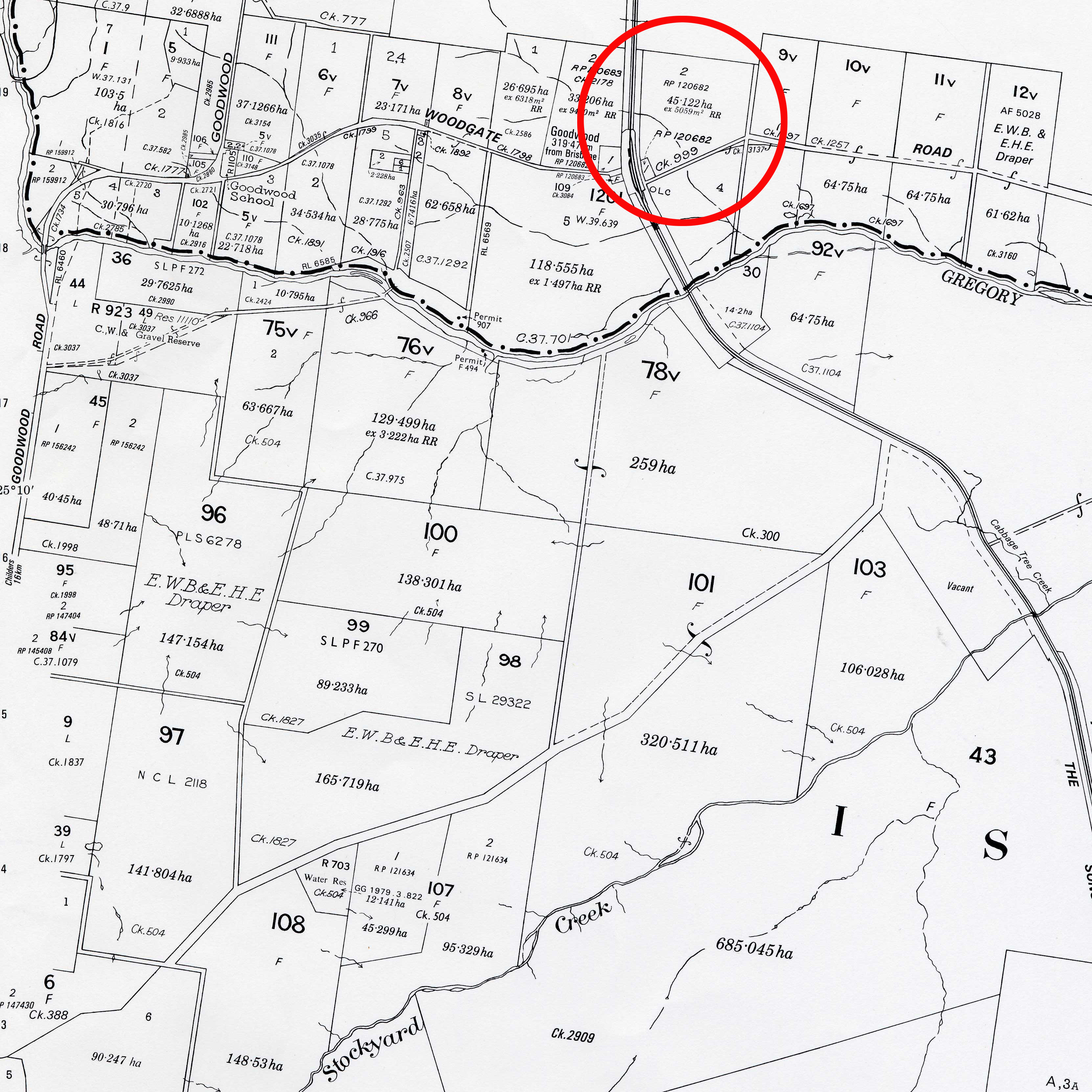 This image shows an example of a cadastral map and the area circled in red is the intended survey plan.
