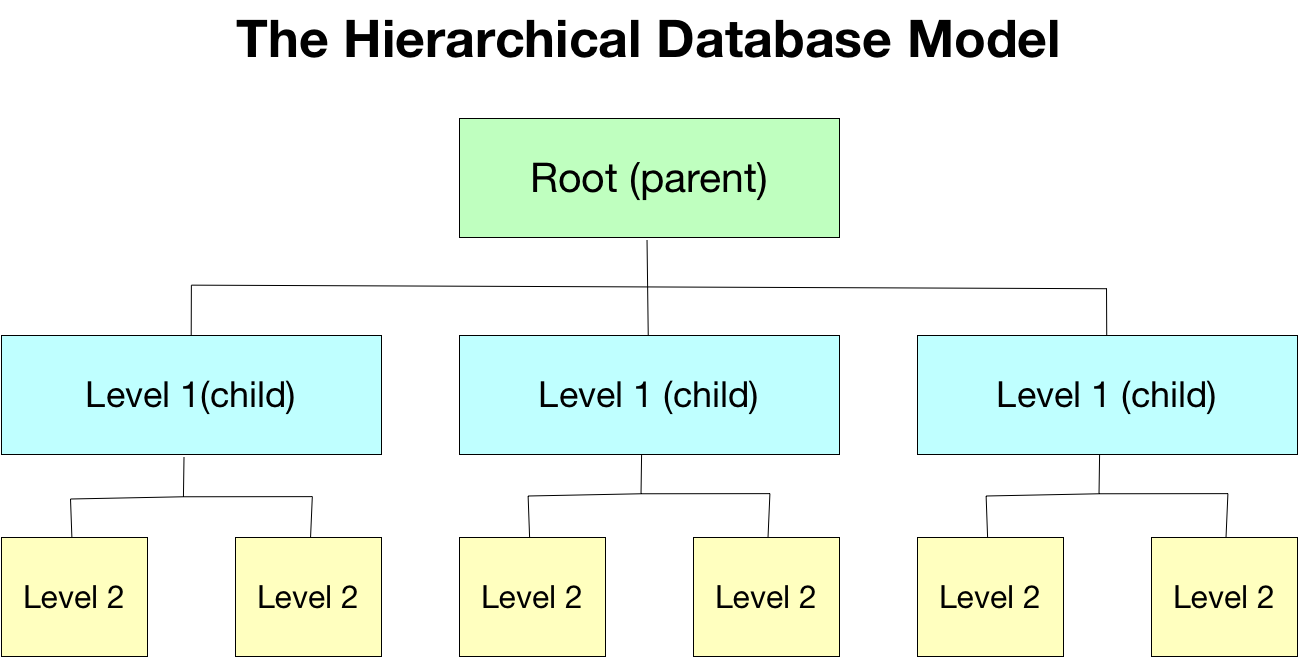 This image shows an example of what a hierarchical database model looks like, demonstrating the parent-child structure with the root and levels.