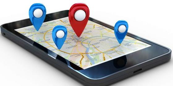 Location-Based Services example of mobile map application showing various points of interest.