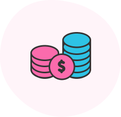 Icon of coins to represent subscription pricing.