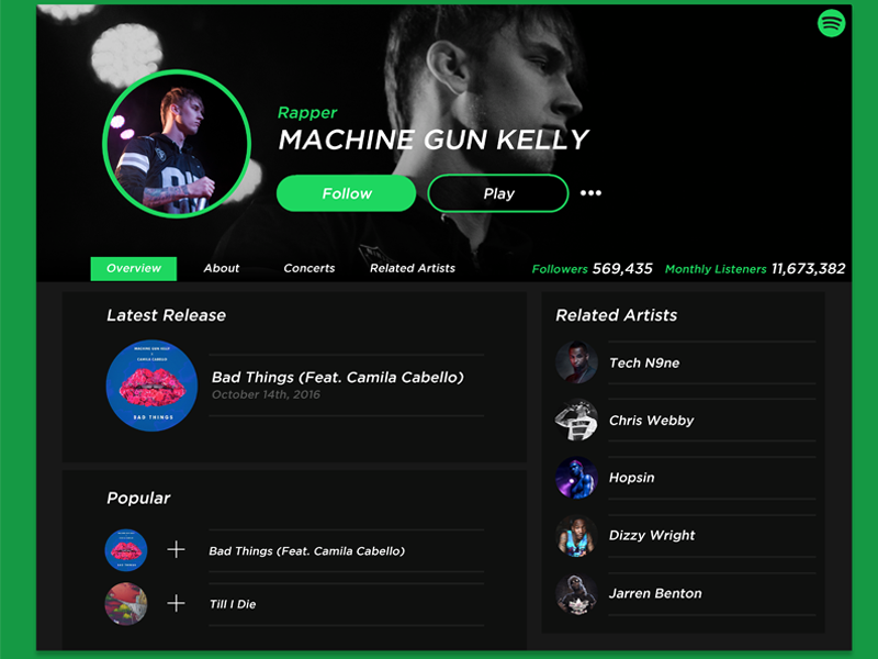 Your music sounds good. You can make the musician look good as well on Spotify Music.