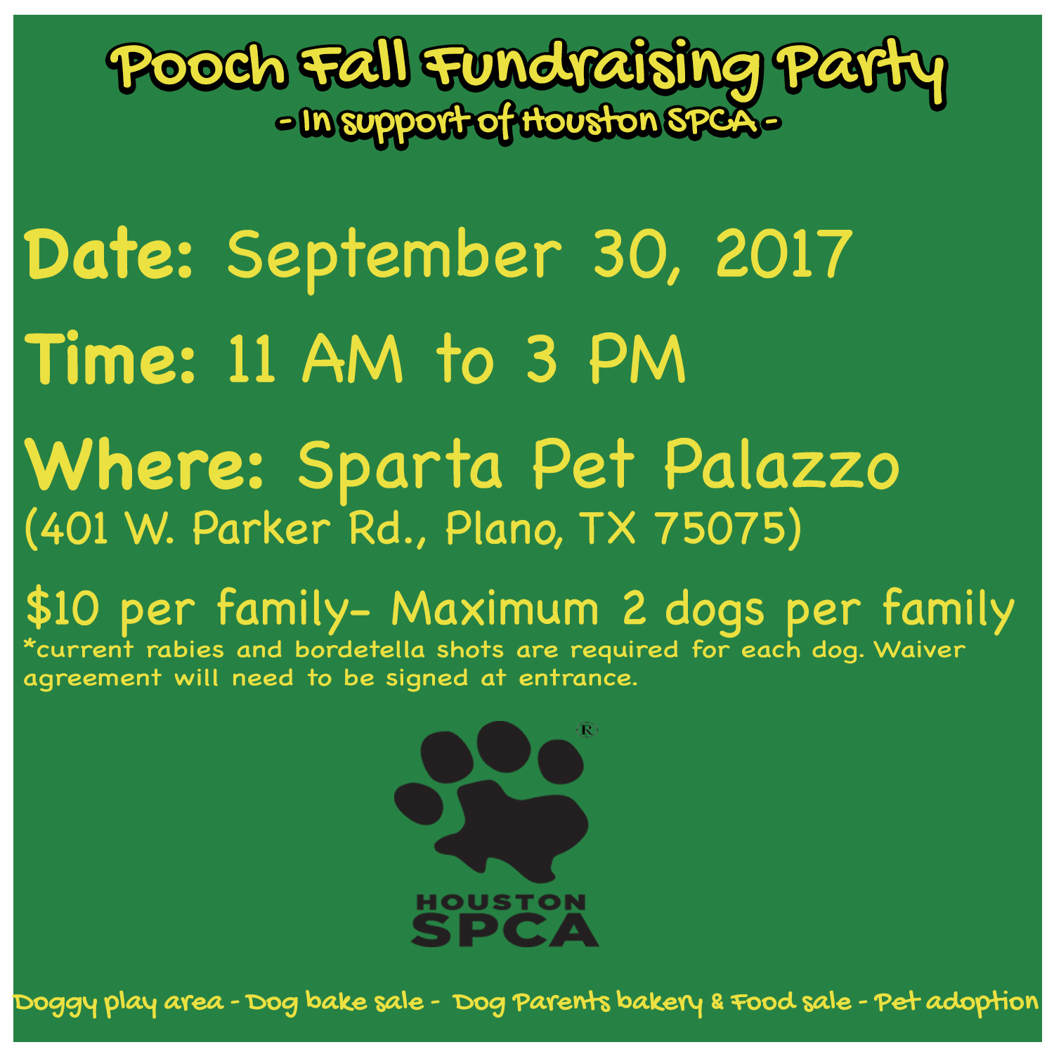 You're Invited: Sparta Pet Palazzo – Pooch Fall Fundraising Party
