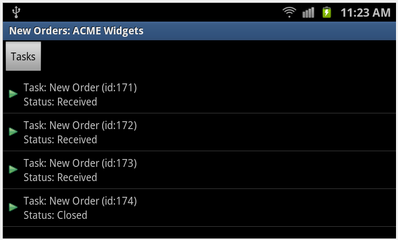 BPM Task List on Samsung Galaxy S II, Android v2.3.6 (Gingerbread), Dual Core Qualcomm CPU ? 1.5GHz