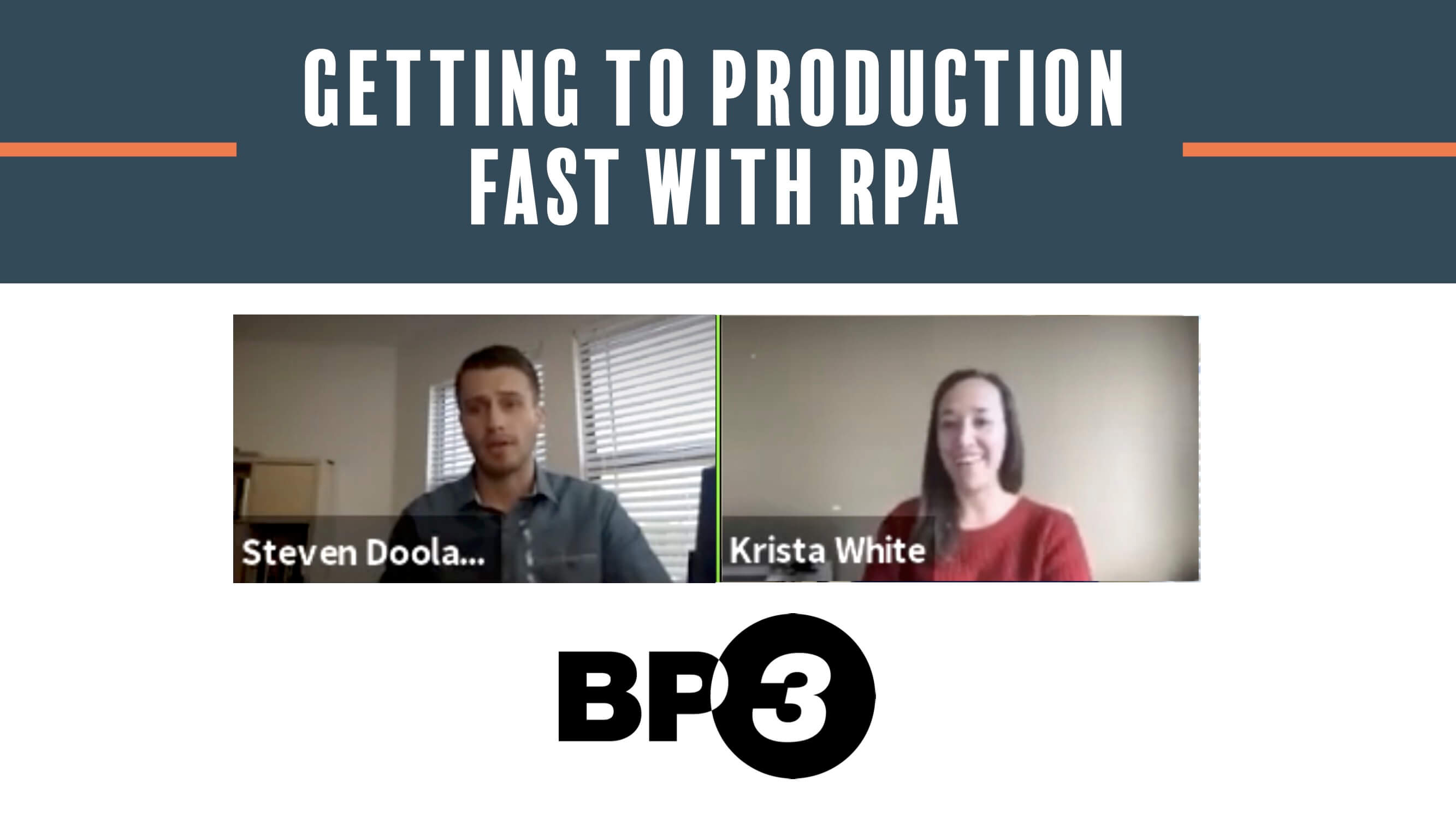 Getting to Production Fast with RPA