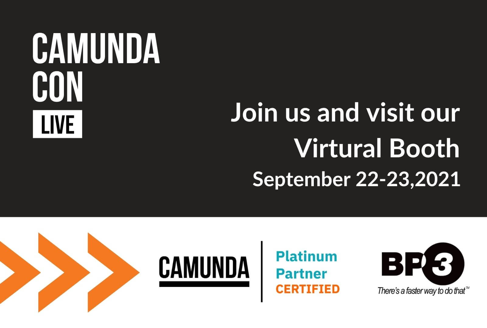 Register for our virtual booth at CamundaCon from September 22-23 and join an online global community experiencing a virtual conference dedicated to Process Automation. CamundaCon brings together thousands of software developers, architects, and IT executives to hear and share best practices and use cases. Get inspired by your peers and the latest product updates from the team behind Camunda.