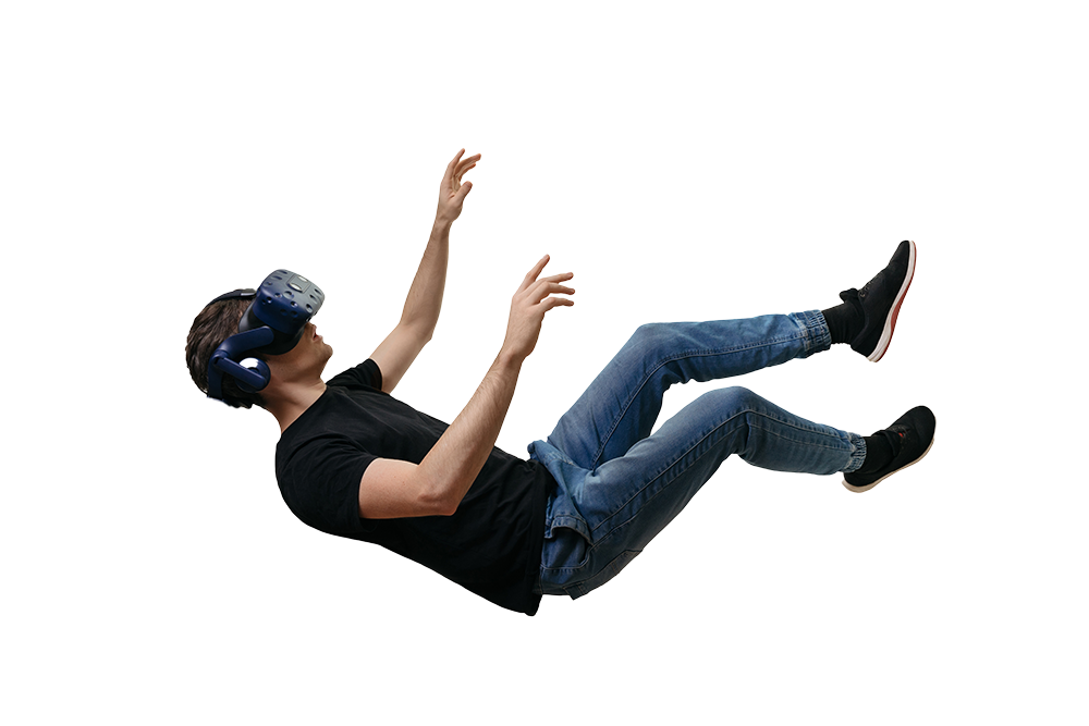 Man in VR mask falling in mid air