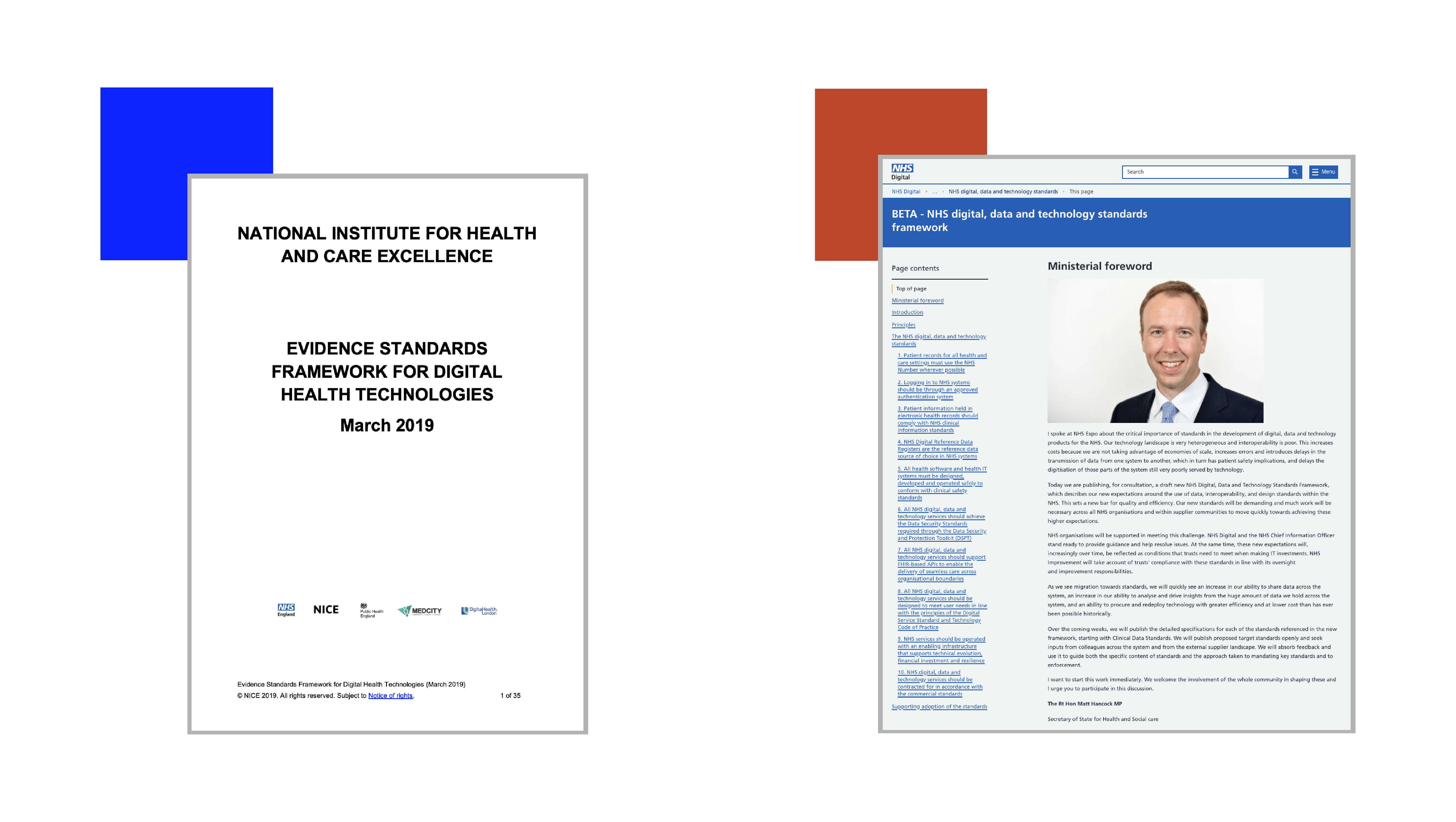 Image shows the front page of the NICE Evidence Standards Framework for Digital Health Technologies, and the home page of the draft NHS digital, data and technologies standards framework