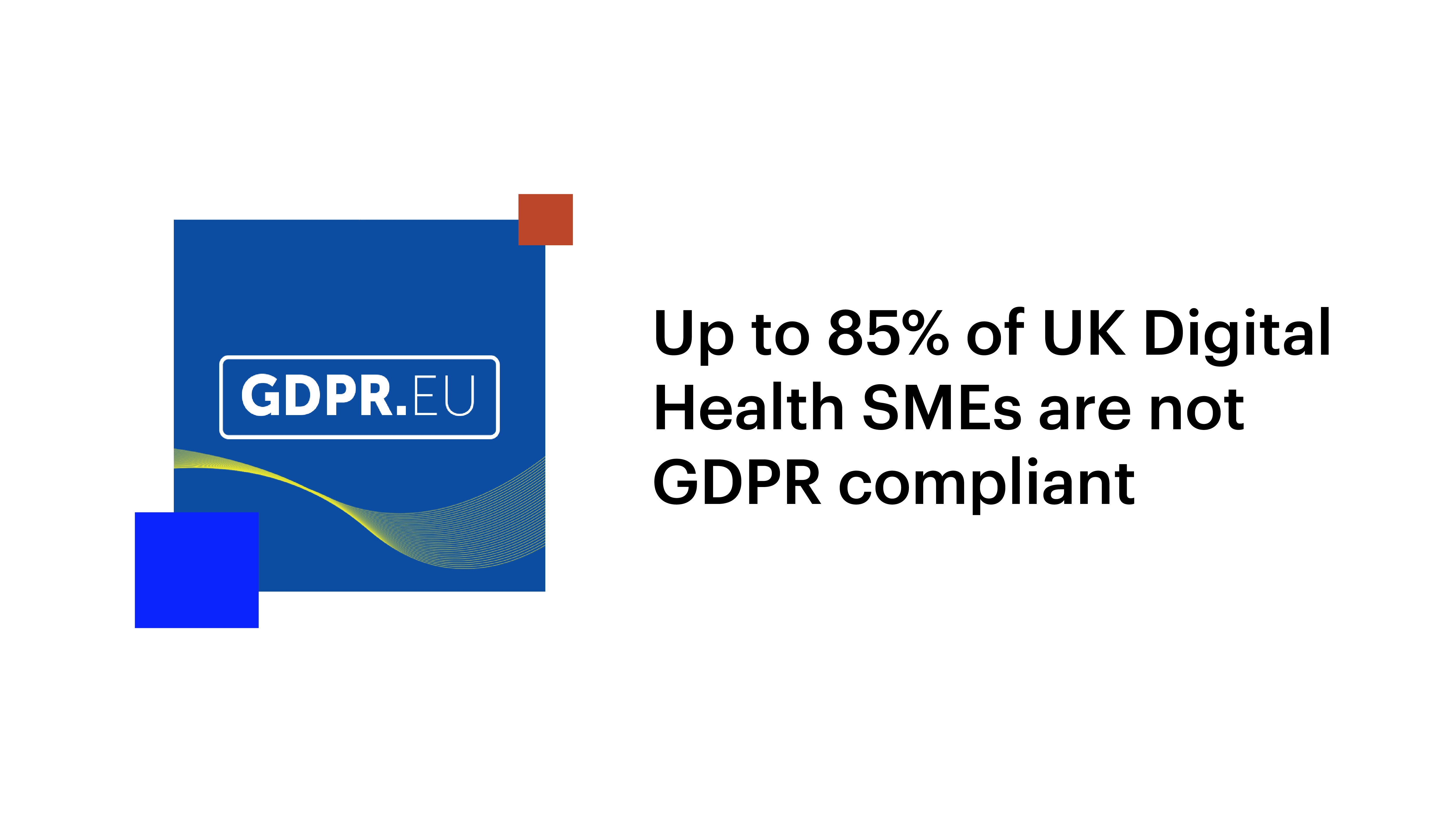 Up to 85% of UK Digital Health SMEs are not GDPR compliant. Image shows the GDPR website logo.