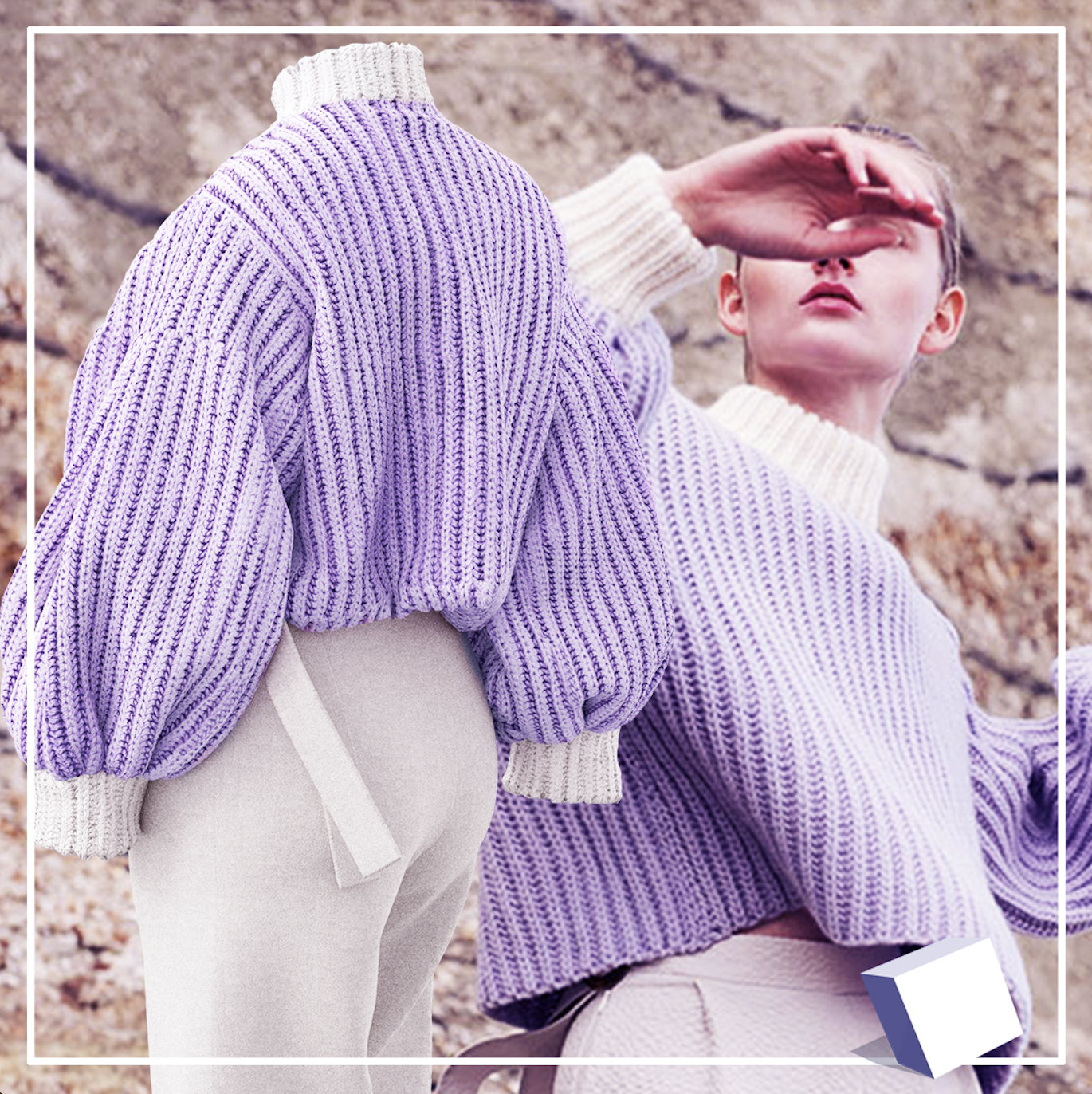 The image shows two versions of the same outfit. The first, in the background, is a photo of a white, delicately-featured model wearing a purple knit sweater with white edging, on top of a pair of smart white trousers. The second shows a digital ender of the same outfit.
