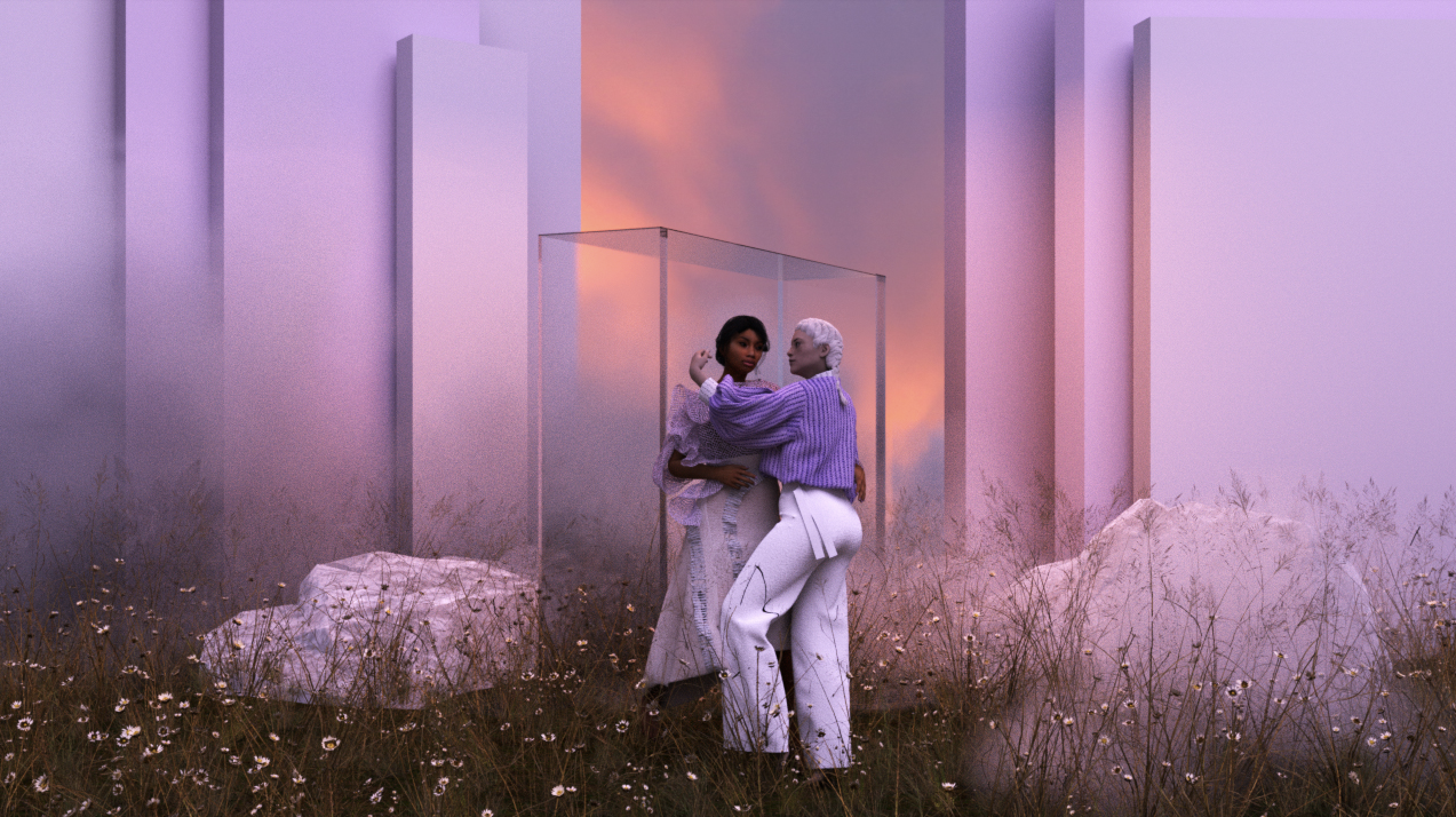Two women stand, face to face, wearing the purple and white outfit seen at the top of the page. One of the women is trapped in a box and stares at the camera. The women and the box seem to have been placed in a meadow at sunset. Behind them, the sky is a dramatic mix of purple and orange. They stand on wild, flowering grasses between large, white rocks. Behind the rocks, digital walls box in the two models.