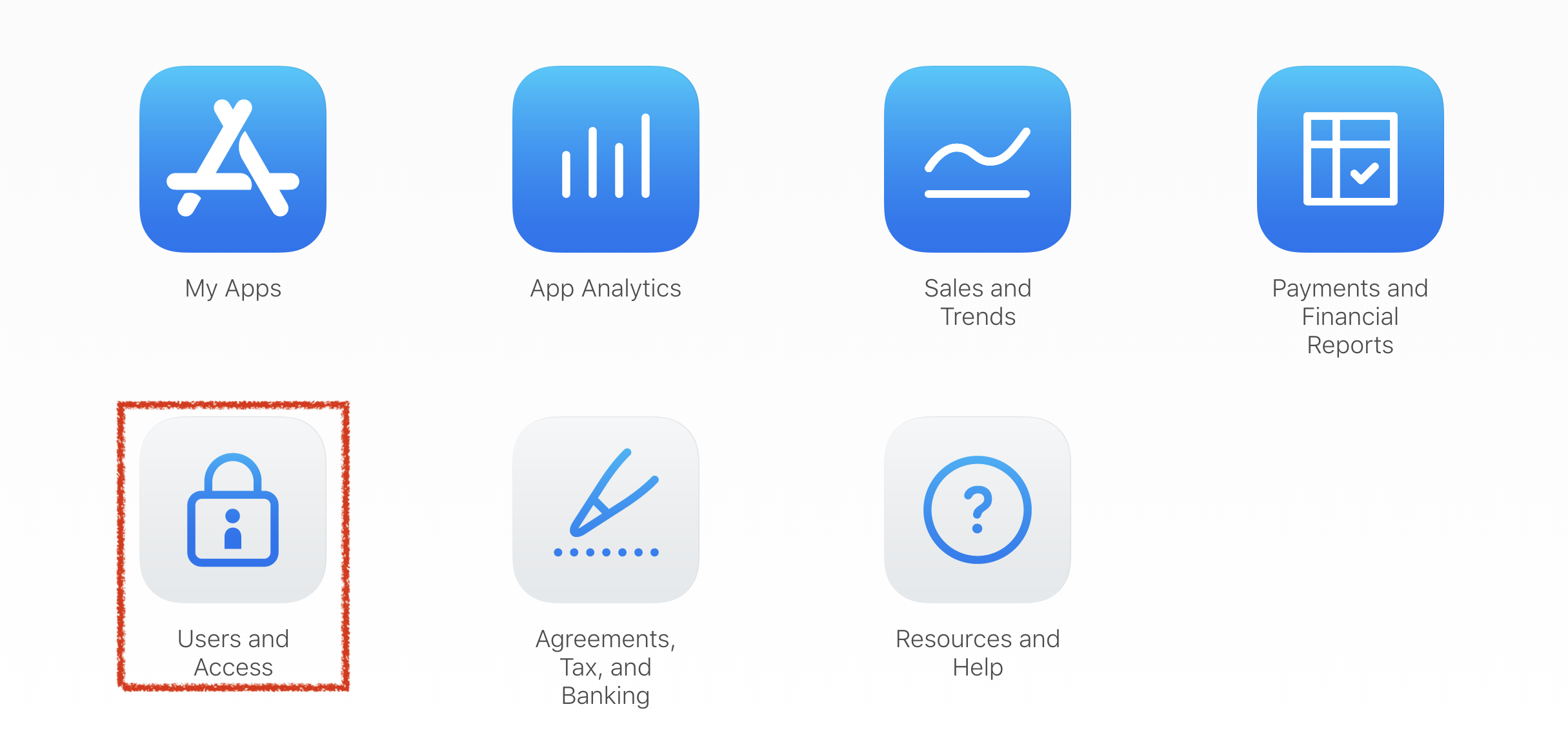 Screenshot of App Store Connect navigation UI highlighting where to create sandbox accounts