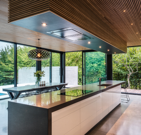 Modern kitchen with large island bench.