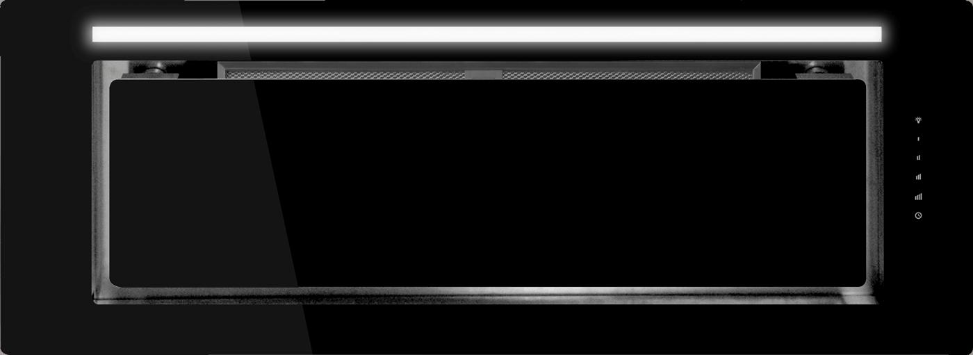 Schweigen IN. Silent Black Glass Undermount Rangehood 900mm
