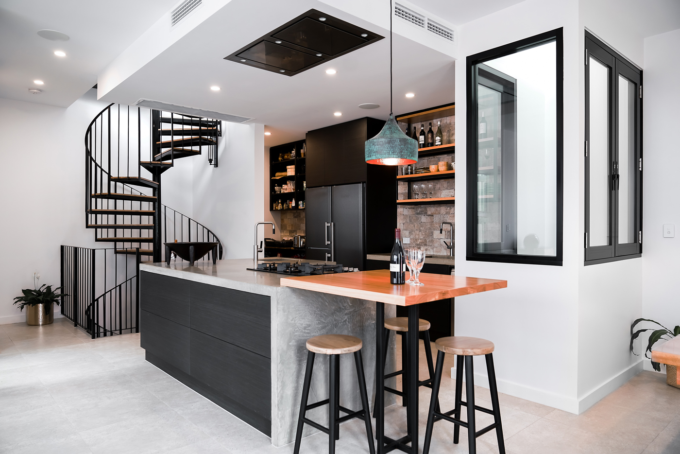 This project was a major renovation to an inner-city townhouse, the clients were after an industrial feel to the interior and kitchen cabinetry.