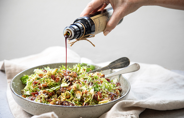 Brussel Sprout, Hazelnut and Manchego Salad with Orange Muscatel Dressing