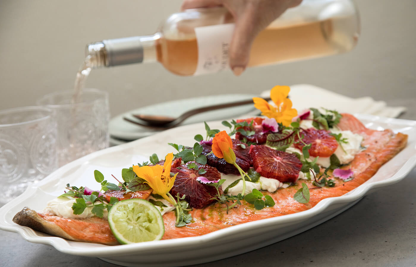 Honey & Lemon Thyme Ocean Trout with Salted Yoghurt & Blood Orange