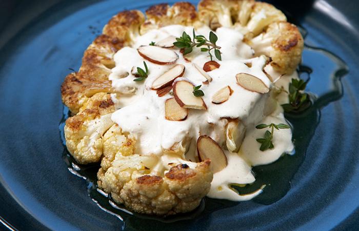 BBQ Cauliflower Steaks with Almond Cream and Black Garlic