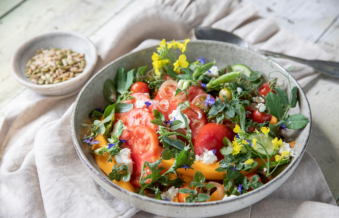 Spring Garden Salad with Shallot and Candied Ginger Dressing
