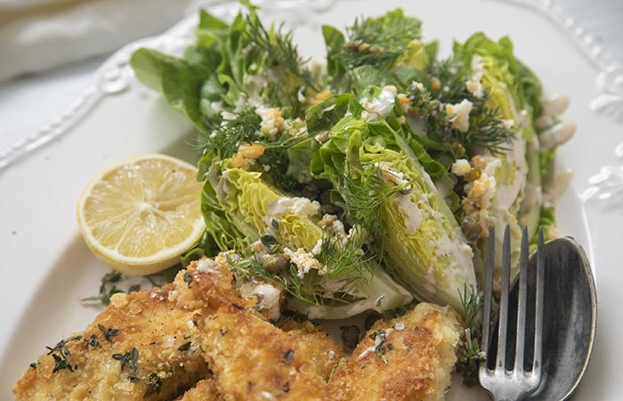 Chicken Snitty with Cos and Caper and Egg Salad