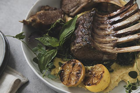 BBQ Lamb Racks with Spinach and Parmesan Polenta
