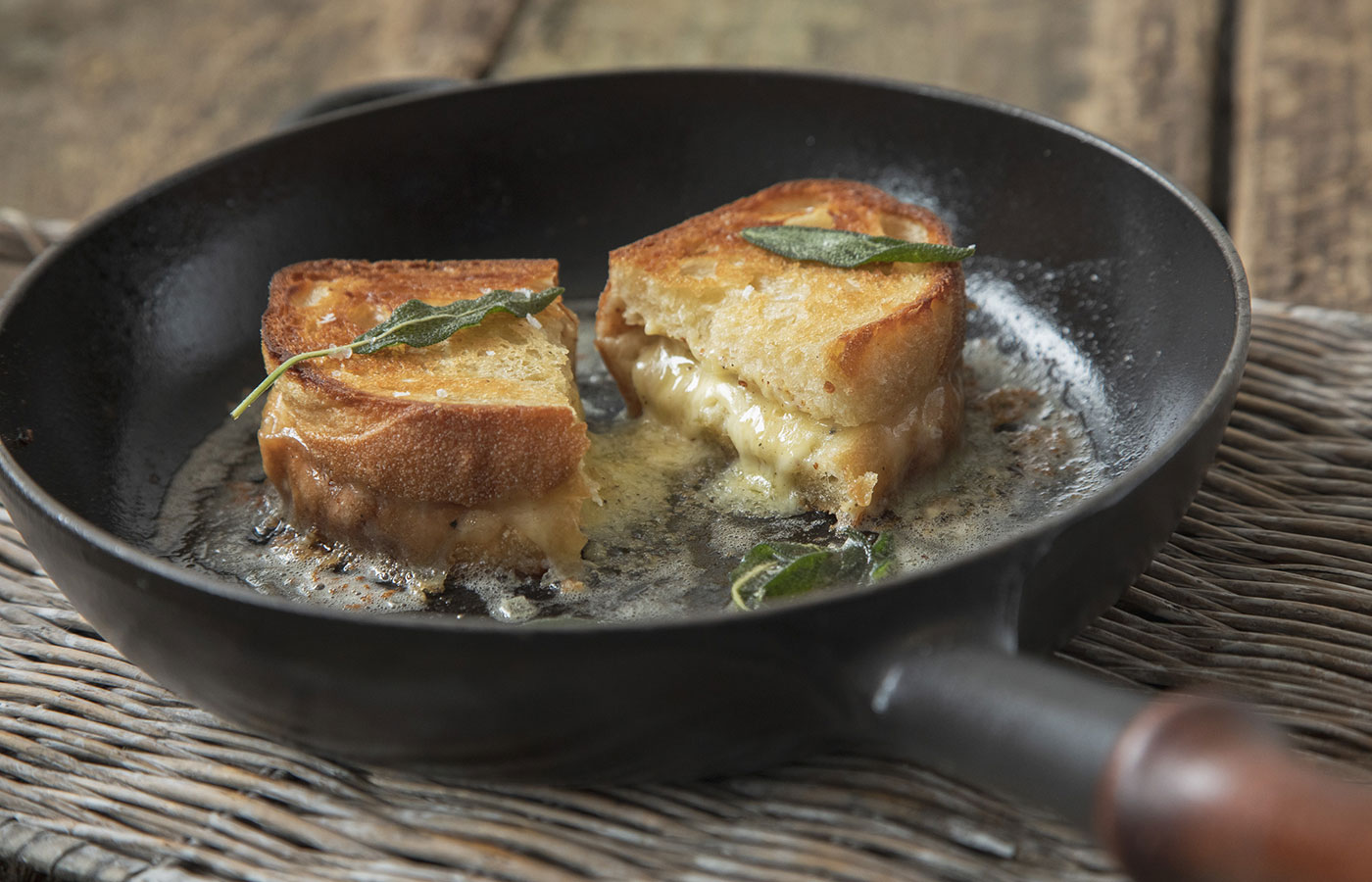 Three Cheese Toastie with Burnt Sage Butter
