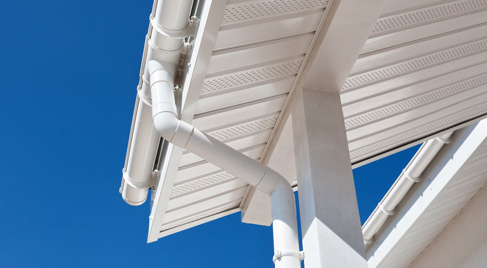 underside view of roof and roof gutters