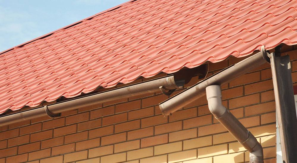 close up of roof and roof gutters
