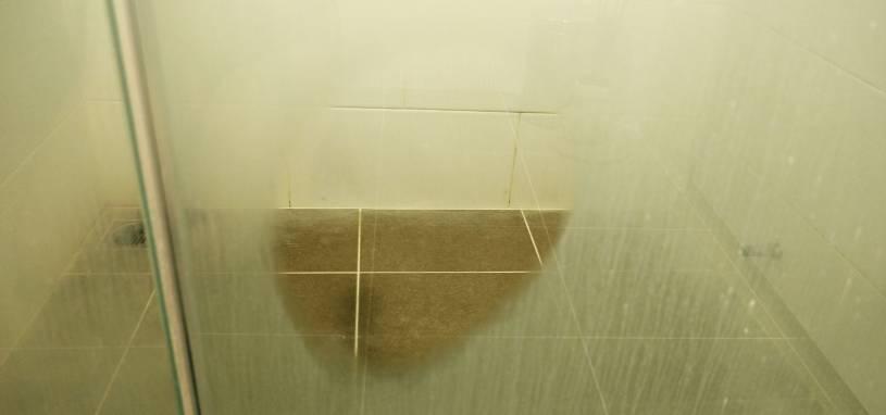 dirty shower glass