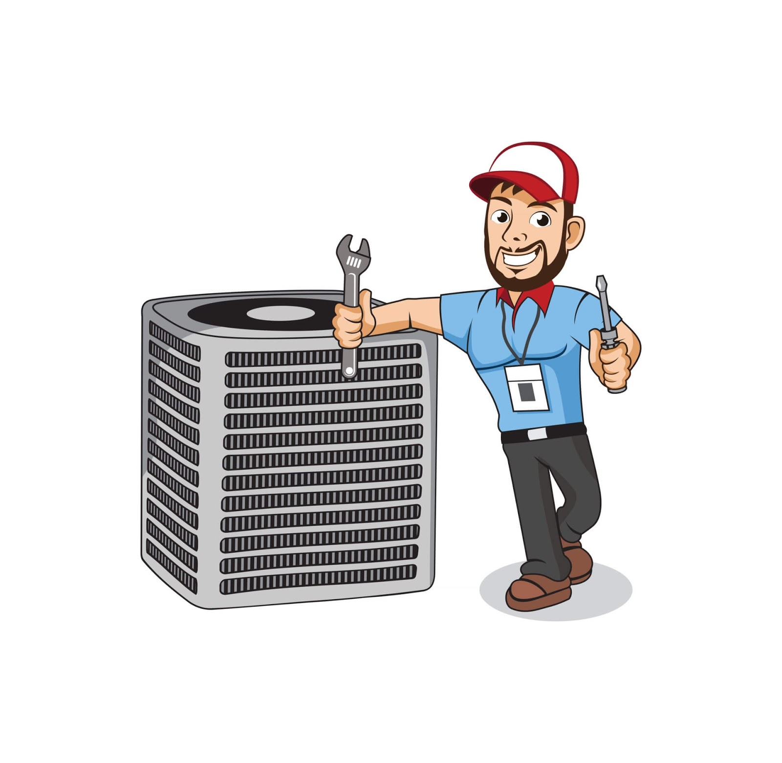 guy fixing and cleaning an HVAC system