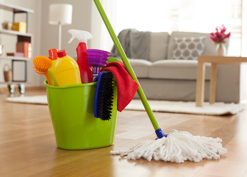 mop with bucket and cleaning tools