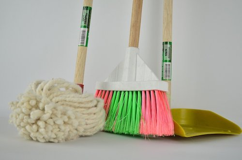 broom and mop with dustpan