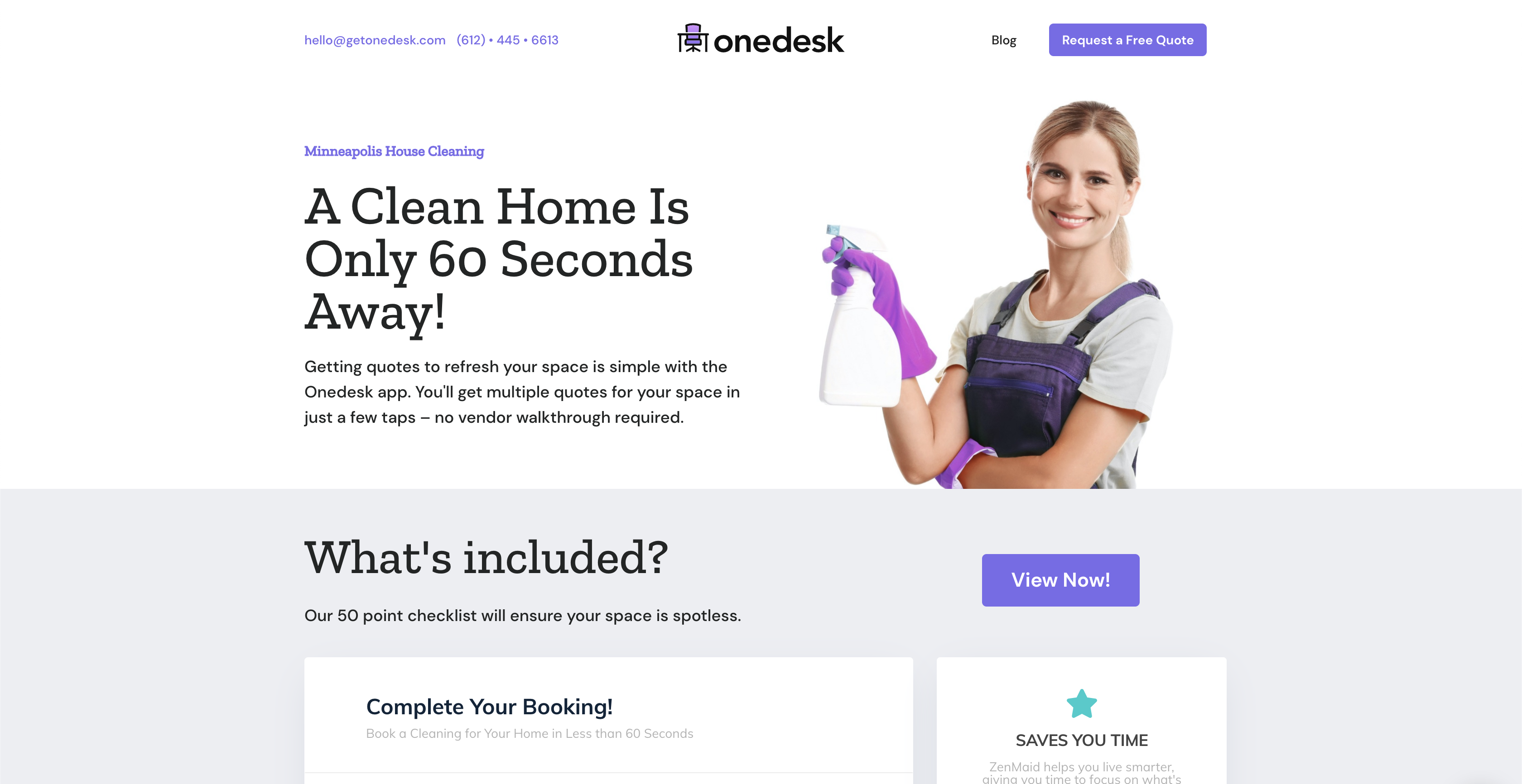 Onedesk house cleaning website