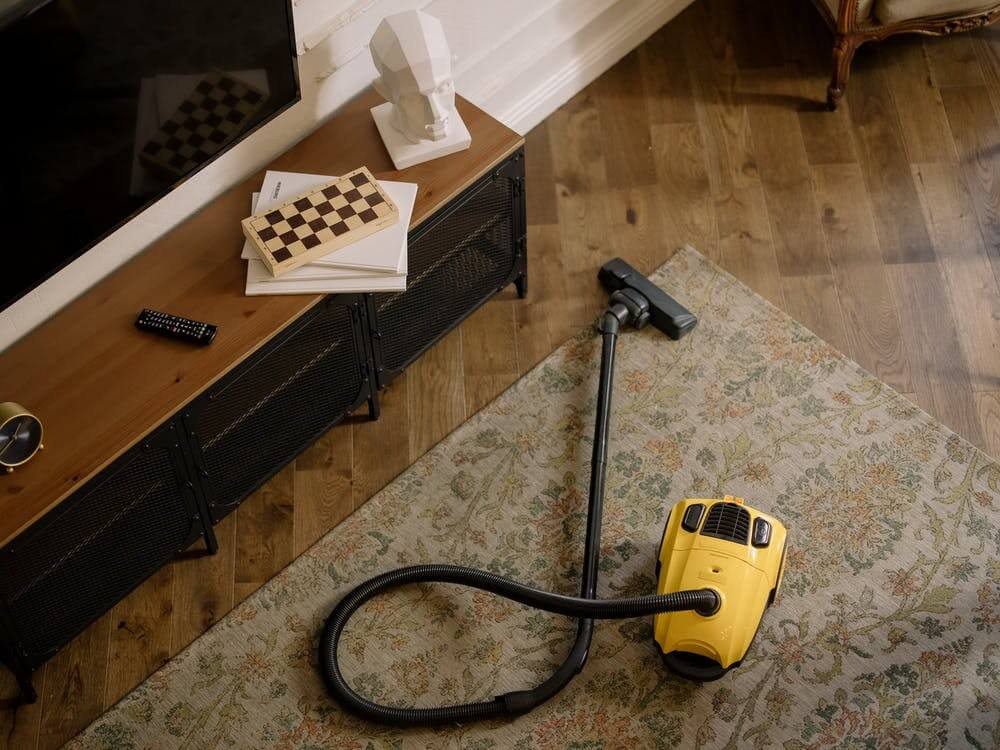 canister vacuum in living room