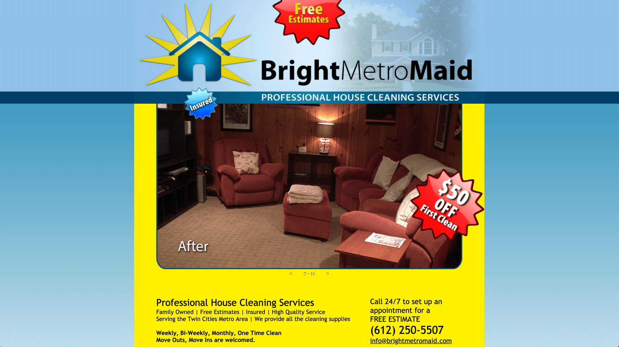 bright metro maid house cleaning