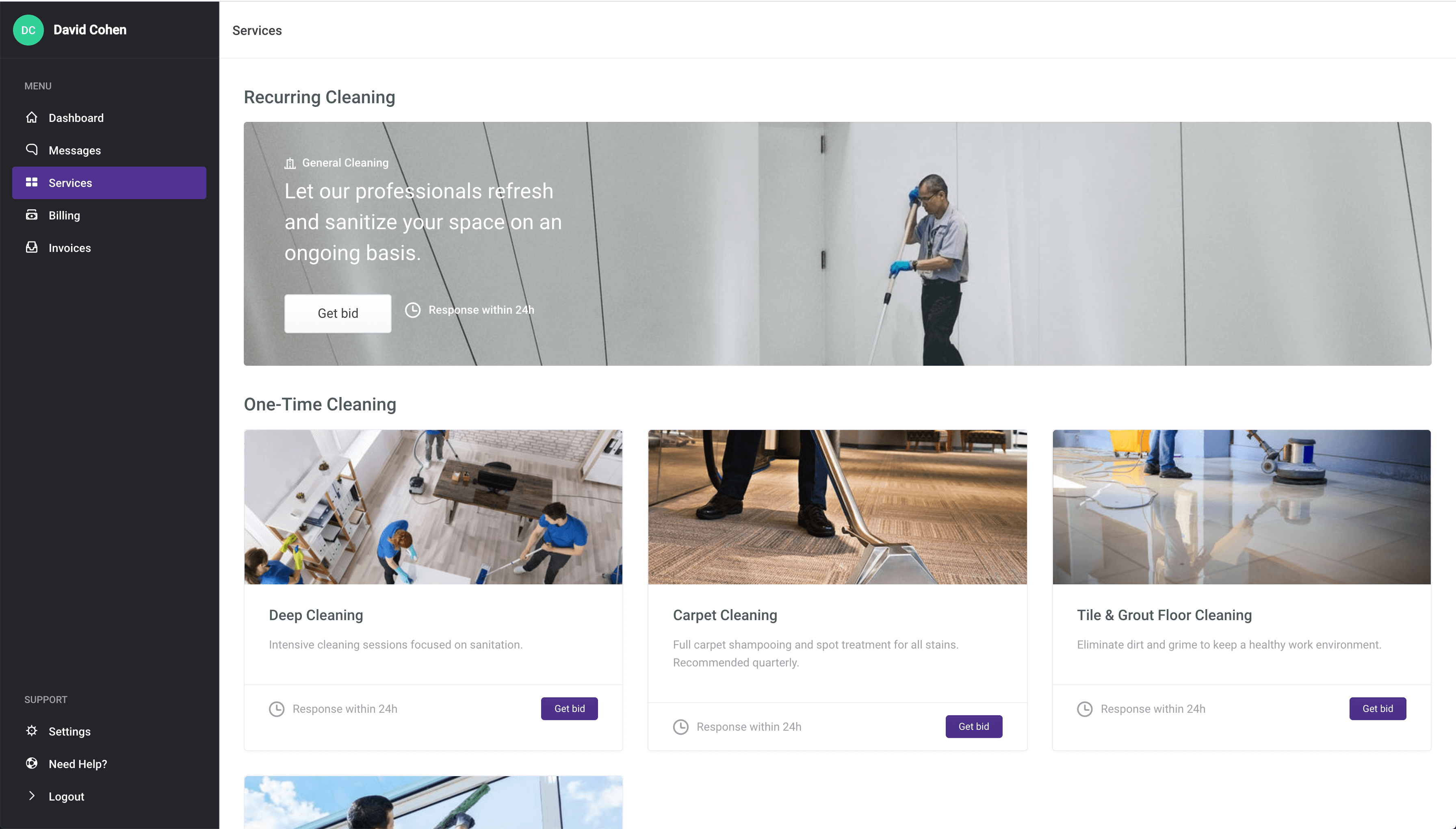 onedesk cleaning platform