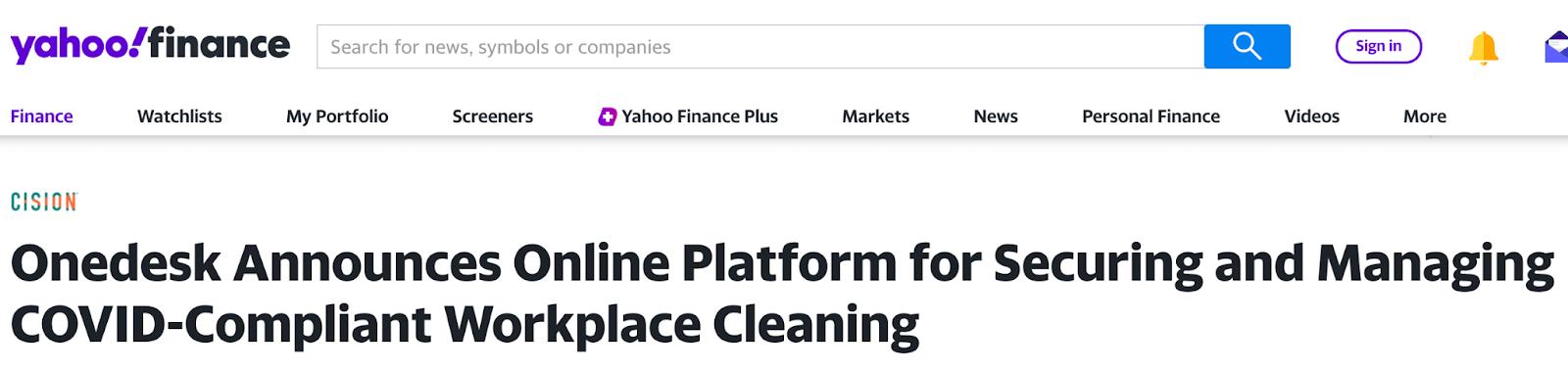 onedesk cleaning app on yahoo finance website