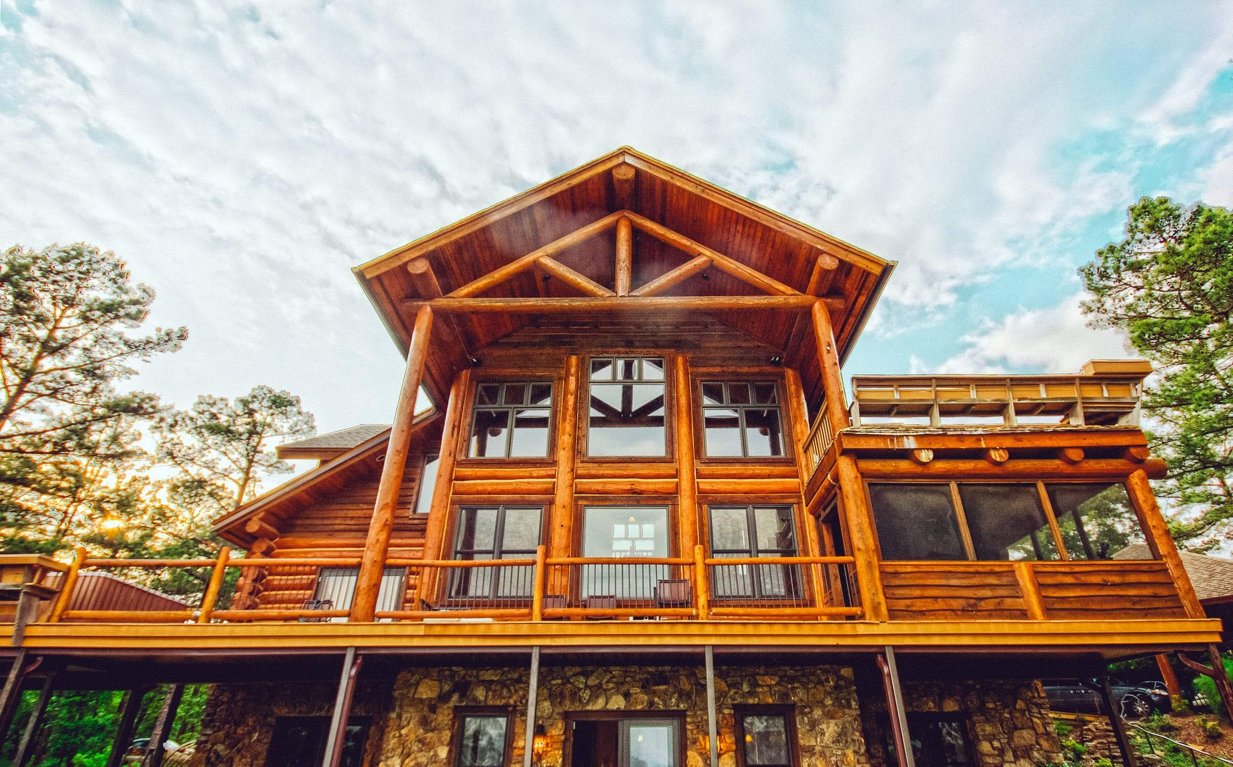 a clean cabin exterior