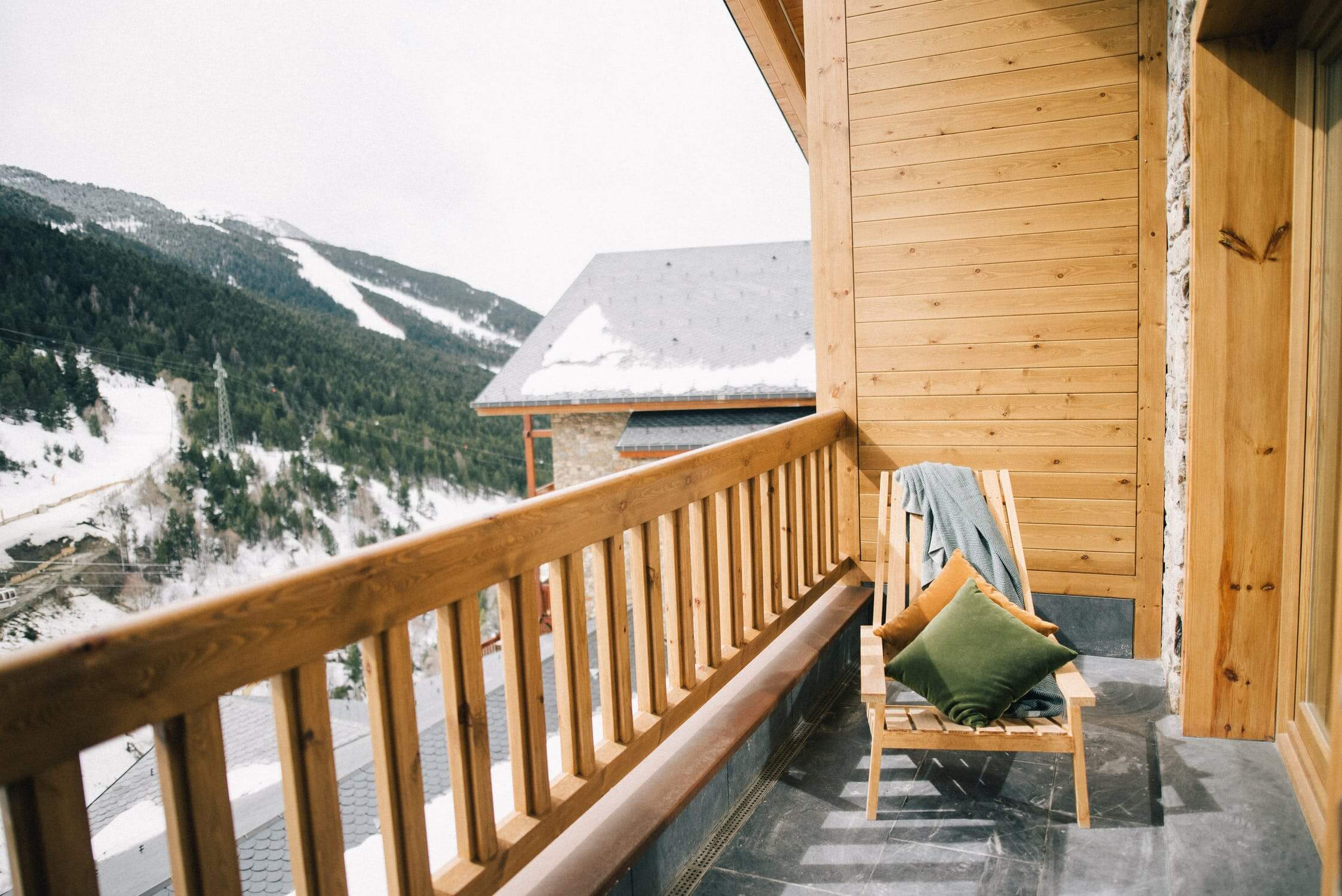 cabin deck near mountains