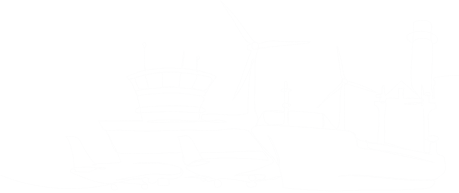 Line drawing of boats, airplanes and various forms of power generation