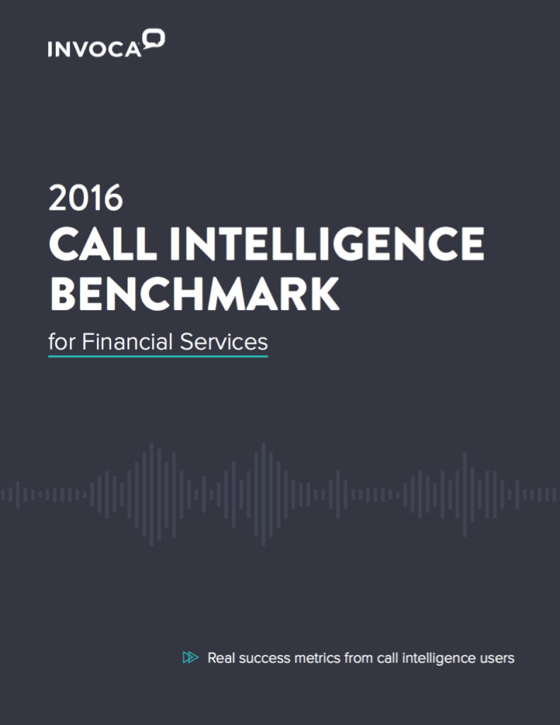 2016 Call Intelligence Benchmark for Financial Services