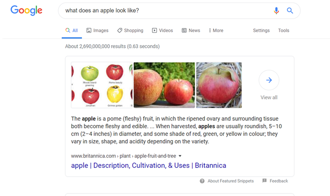What a featured snippet looks like on a Google SERP