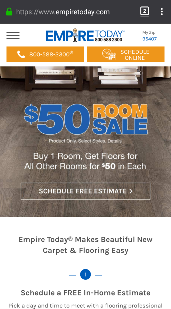Empire today mobile landing page click to call