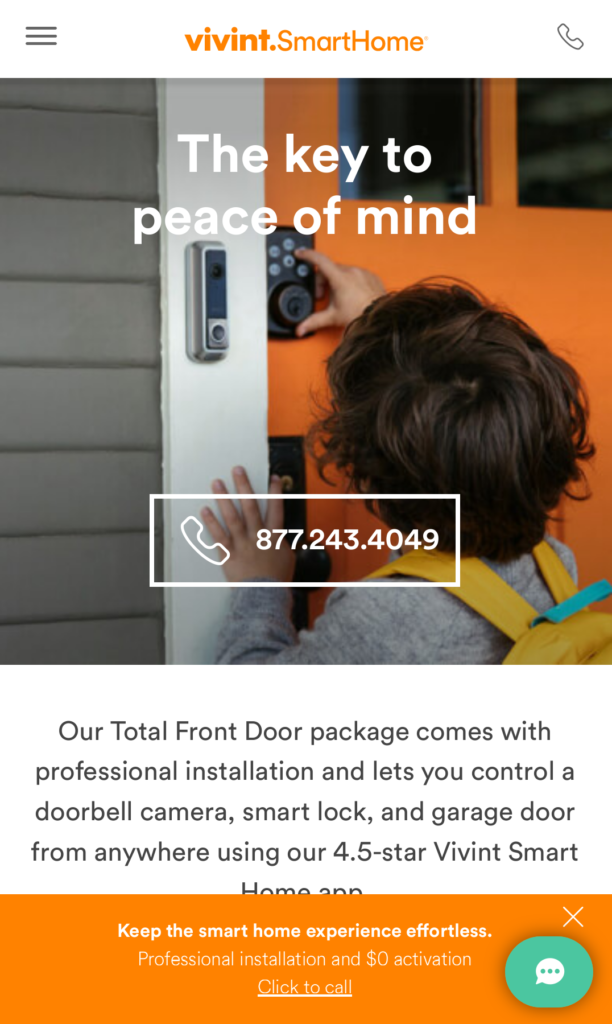 Click to call example on a mobile website