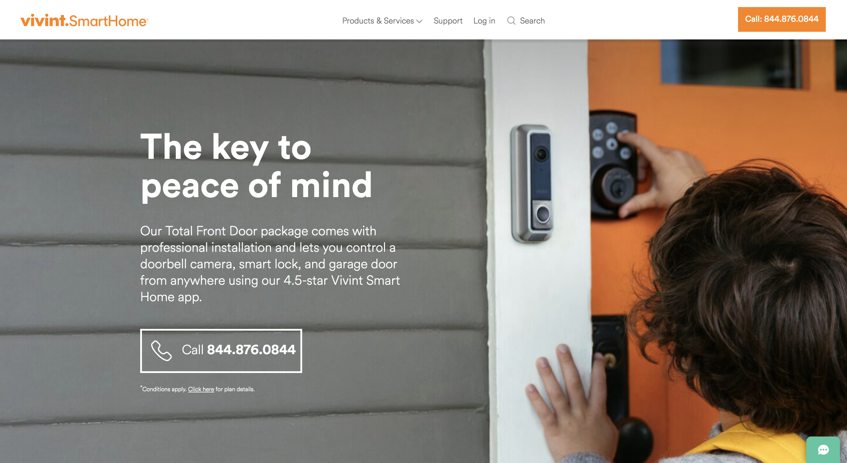 click to call options on vivint smart home website