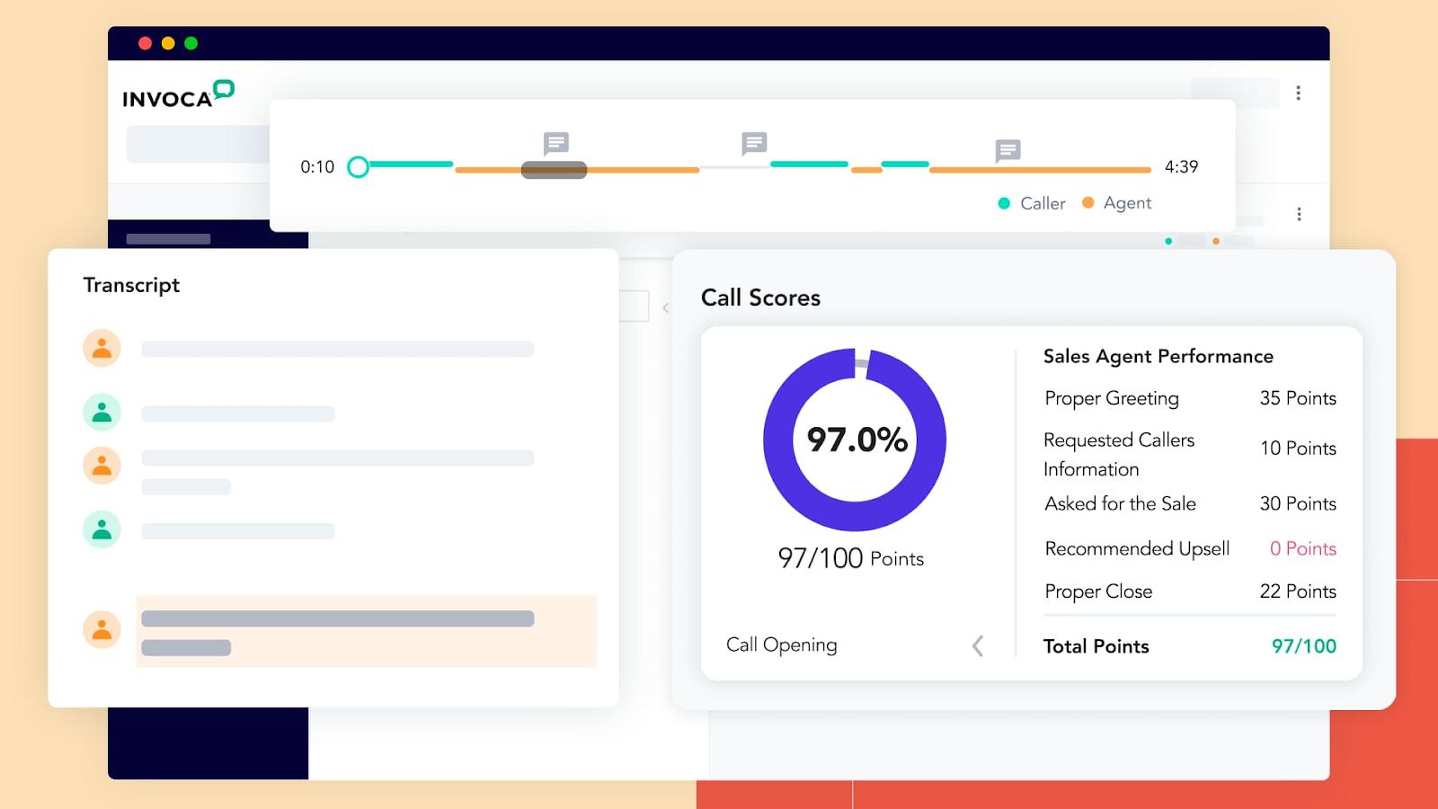 Sample Invoca sales agent performance scorecard