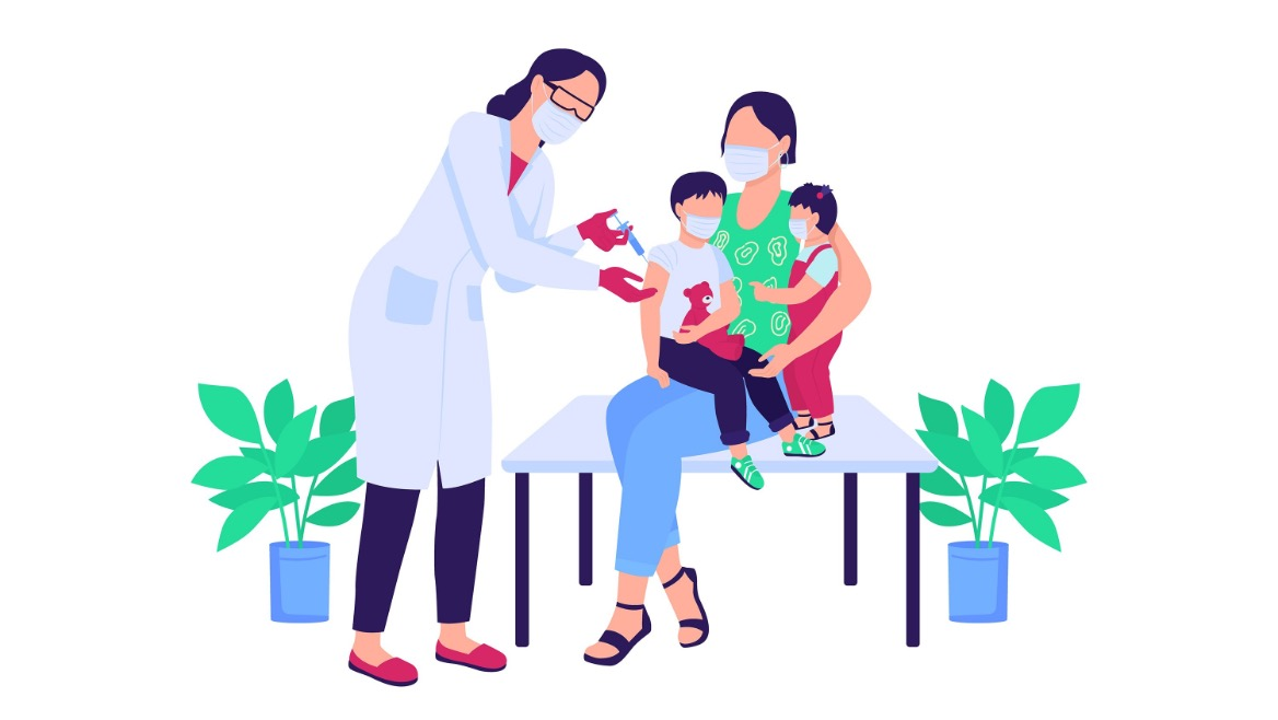 A family getting vaccinated.